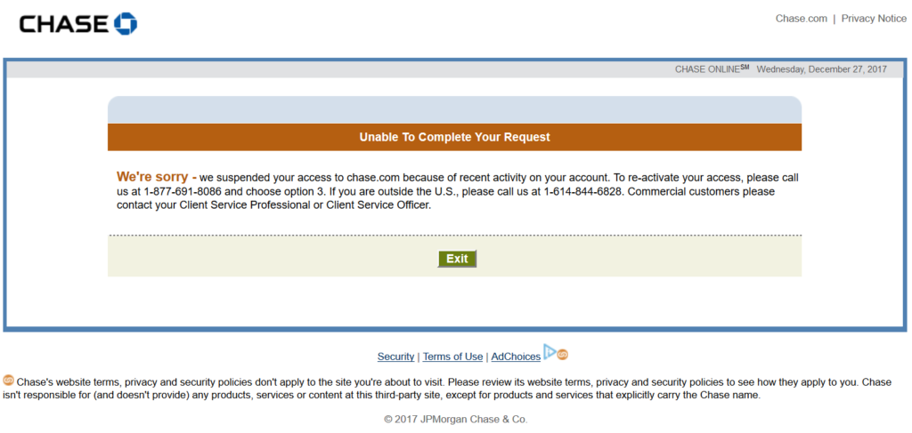 Chase Account Suspended And What It Means Travelinpoints